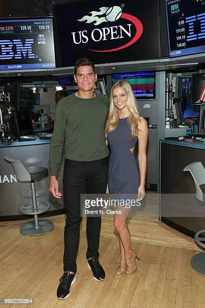 World number 6 ranked men's professional tennis player Milos Raonic and Danielle Knudson attend the United States Tennis Association rings the NYSE...