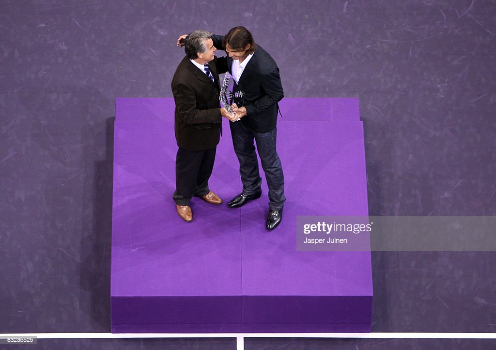 Rafael Nadal Receives The ATP 2008 Race Trophy : News Photo