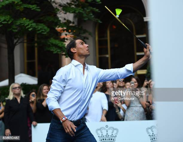 World number one tennis player Rafael Nadal of Spain plays against Venus Williams of the USA as they participate in the Lotte New York Palace...