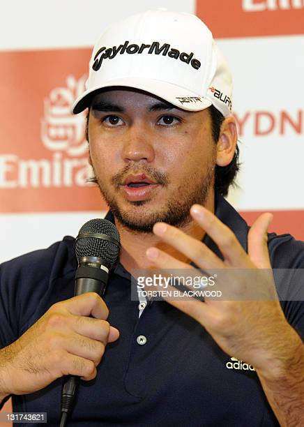 World number seven golfer Jason Day of Australia attends a media conference at The Lakes Golf Club in Sydney on November 8 2011 Tiger Woods of the US...
