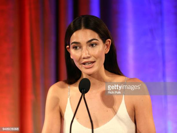 World of Children Ambassador Lily Aldridge Followill speaks on stage at the 2018 World of Children Hero Awards Benefit at Montage Beverly Hills on...