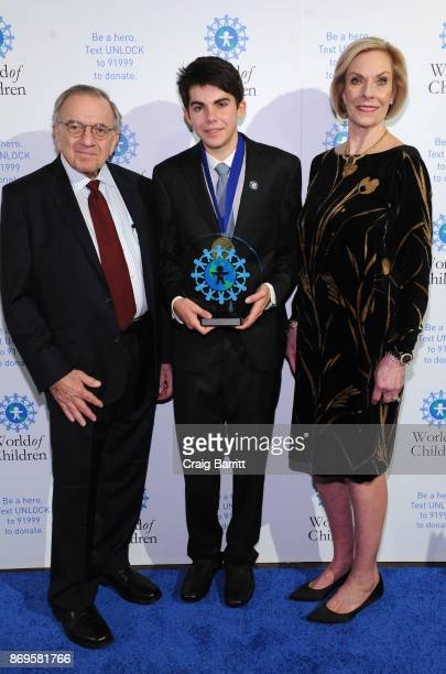 World of Children CoFounder Event CoChair Harry Leibowitz World of Children 2017 Youth Award Founder Shred Kids' Cancer Teagan Stedman and World of...