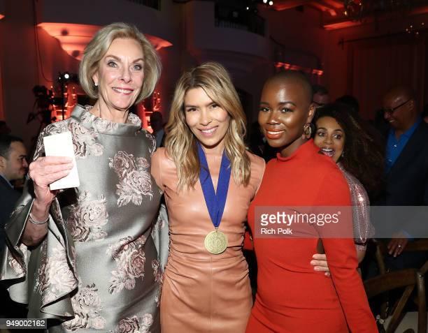 World of Children CoFounder Kay Isaacsonleibowitz Veronica Grazer and V Bozeman attend the 2018 World of Children Hero Awards Benefit at Montage...