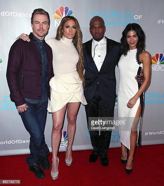 'World of Dance' judges Derek Hough Jennifer Lopez NEYO and host/mentor Jenna Dewan Tatum attend a photo op for NBC's 'World of Dance' at NBC...
