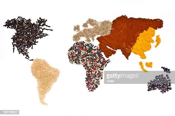 world of spices - world map stock photos and pictures