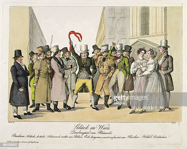 World of theaters 'Glueck in Wien' Play by [Adolf] Baeuerle in the Leopoldstaedter Theater on August 10 1826 The scene shows FiakerCoaches on the...