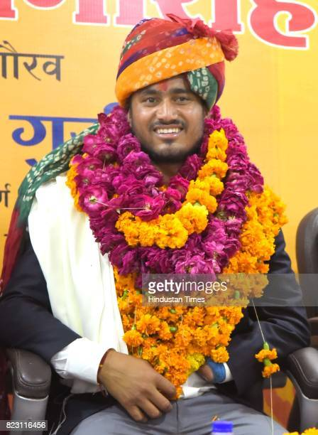 World ParaAthletics Championships gold medalist Sundar Singh Gurjar receives greetings upon his arrival on July 26 2017 in Jaipur India Rajasthan's...