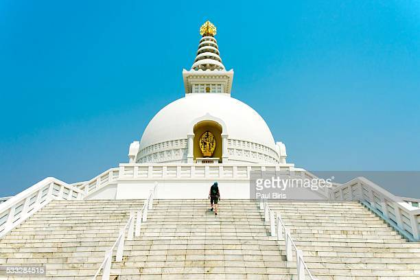 world peace pagoda in lumbini - lumbini nepal stock pictures, royalty-free photos & images