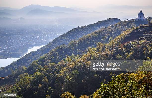 world peace pagoda, pokhara, nepal - pokhara stock pictures, royalty-free photos & images