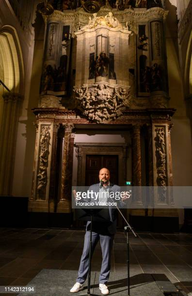 World Press Photo managing director Lars Boering delivers opening remarks at the inauguration of 2019 World Press Photo exhibition in De Nieuwe Kerk...