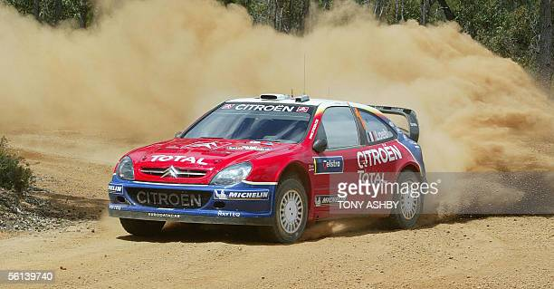 World Rally leader Sebastian Loeb of France takes a bend during stage 5 at Dwellingup on Leg1 11 November 2005 The Australian event of the World...