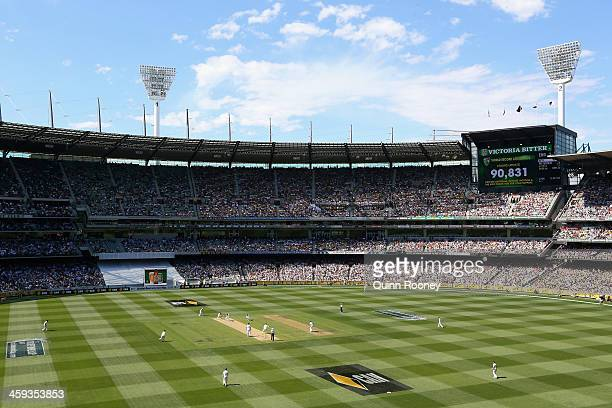 World Record Attendance of 90,831 is projected on the scoreboard during day one of the Fourth Ashes Test Match between Australia and England at...