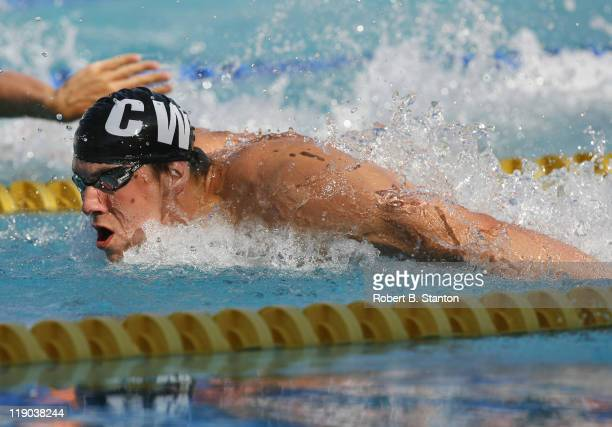 World record holder and Olympic champion Michael Phelps on his way to victory in the Men's 100 meter butterfly at the Santa Clara 39th International...