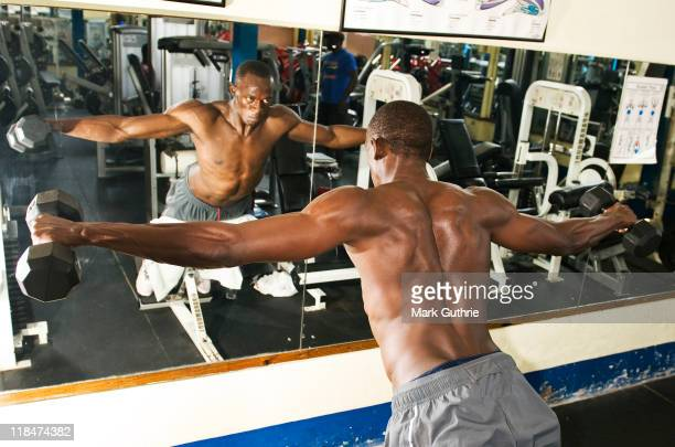 World record sprint holder Usain Bolt is photographed training at his local gym for an hour three times a week on February 25 2010 in Kingston Jamaica