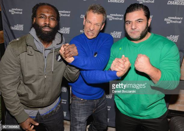World RecordHolding Strongman Patrik Baboumian Dr Aaron Spitz and Olympic weightlifter Kendrick Farris attend 'The Game Changers' Sundance Premiere...
