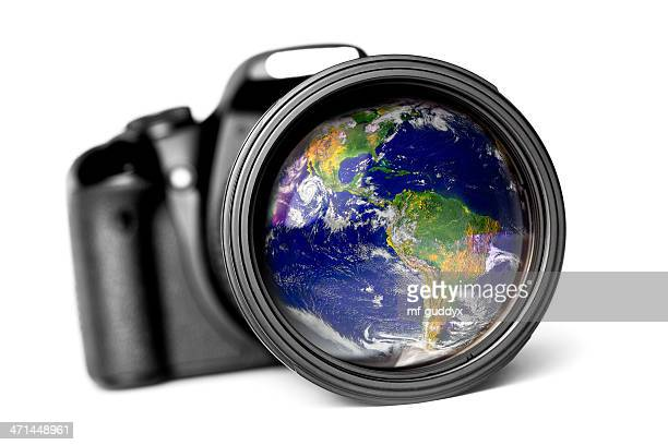 World reflection in a lens