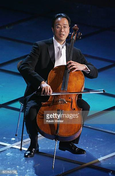 World renowned cellist YoYo Ma performs on stage during the 77th Annual Academy Awards on February 27 2005 at the Kodak Theater in Hollywood...