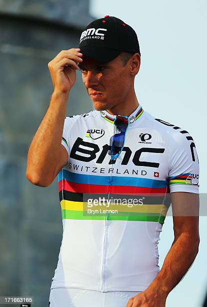 World Road Race Champion Philippe Gillbert of Belgium and the BMC Racing Team attends the Team Presentation on June 27, 2013 in Porto-Vecchio,...