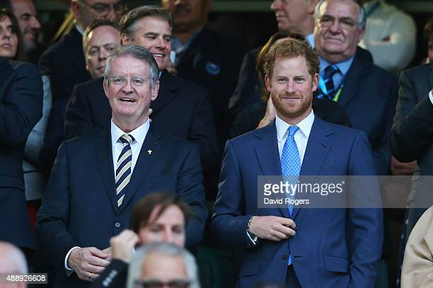 World Rugby Chairman Bernard Lapasset and Prince Harry attend the opening ceremony ahead of the 2015 Rugby World Cup Pool A match between England and...