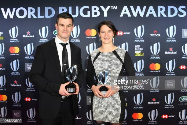 World Rugby Men's 15s Player of the Year award winner Johnny Sexton and World Rugby Women's 15s Player of the Year award winner Jessy Tremouliere...