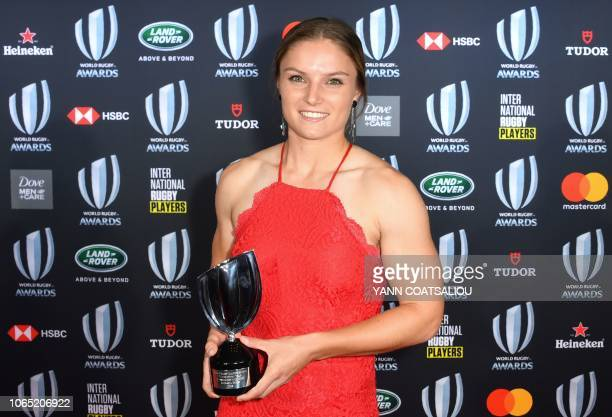 World Rugby Womens Sevens Player of the Year Michaela Blyde of New Zealand poses with her trophy during the World Rugby Awards on November 25 2018 at...