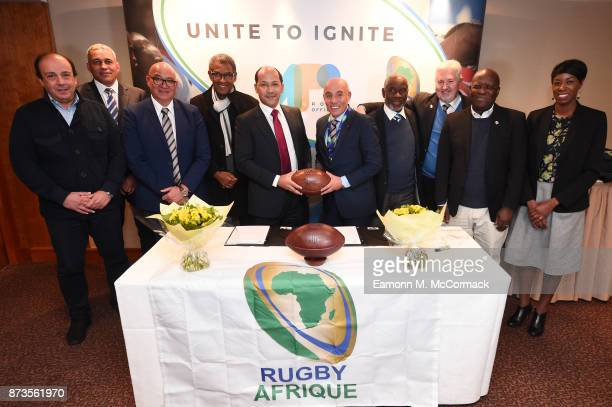 World Rugby's African association Rugby Africa's executive committee surrounding APO Group's Founder and CEO Nicolas PompigneMognard and Rugby...