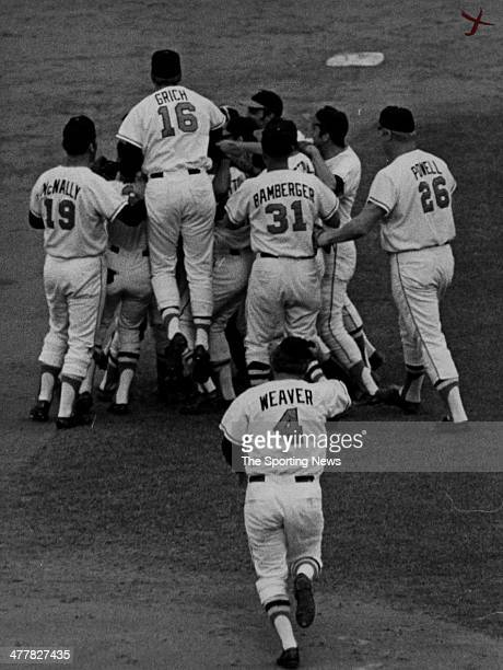 World Series 1970 Manager Earl Weaver of the Baltimore Orioles runs onto the field to celebrate with his players after the won Game Five of the 1970...