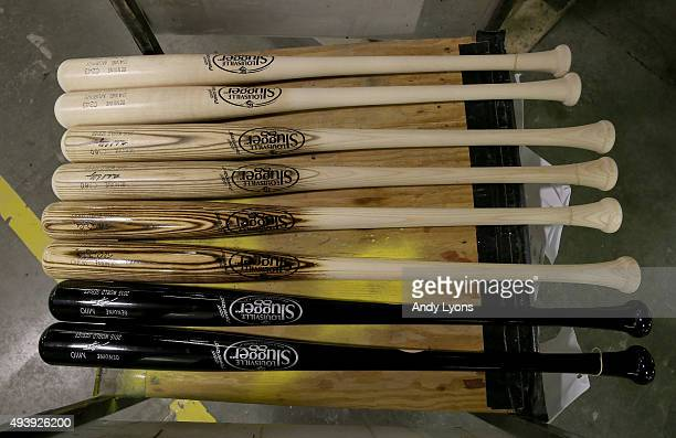 World Series bats of the New York Mets lay on a rack ready to be shipped out at the Louisville Slugger Museum and Factory on October 23 2015 in...