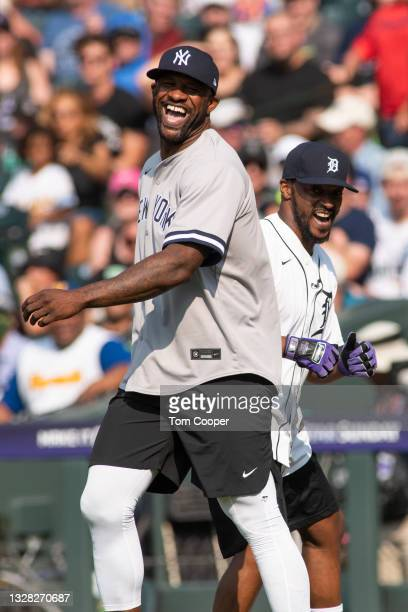 World Series Champion and six time MLB All-Star CC Sabathia with Actor Anthony Mackie during the MLB All-Star Celebrity Softball Game at Coors Field...