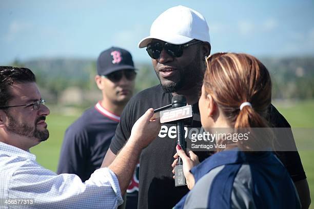World Series Champion & MVP David Ortiz speaks to the media during the David Ortiz 6th Celebrity Golf Classic at Punta Espada Golf Club on December...
