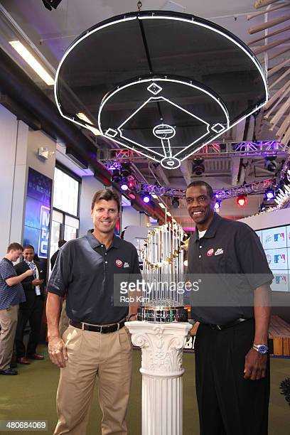 World Series Champions Dwight Gooden and Tino Martinez visit at MLB Fan Cave on March 26 2014 in New York City