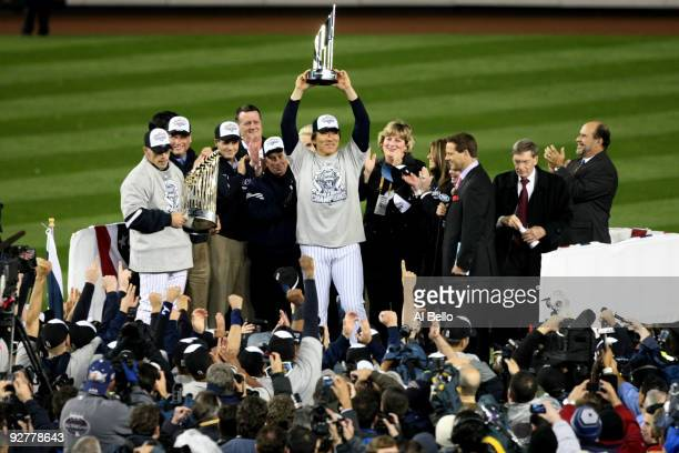World Series MVP Hideki Matsui of the New York Yankees celebrates with the MVP trophy after their 73 win against the Philadelphia Phillies in Game...