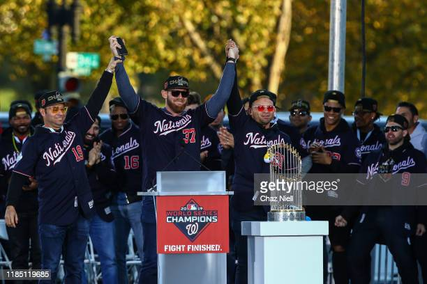 World Series MVP Stephen Strasburg of the Washington Nationals celebrates during Victory Parade on November 02 2019 in Washington DC