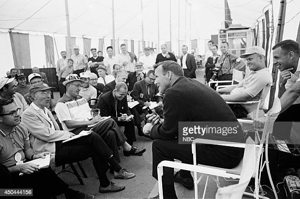 Professional golfers Arnold Palmer and Jack Nicklaus speak to the press
