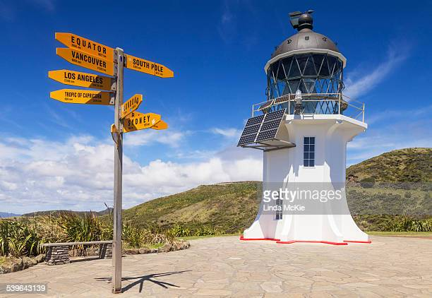 World sign post at Cape Reinga Lighthouse, Northland, North Island, New Zealand