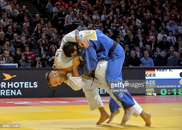 World silver medallist KarlRichard Frey of Germany throws Elmar Gasimov of Azerbaijan for ippon with ogoshi for an ippon in 18 seconds of extra time...