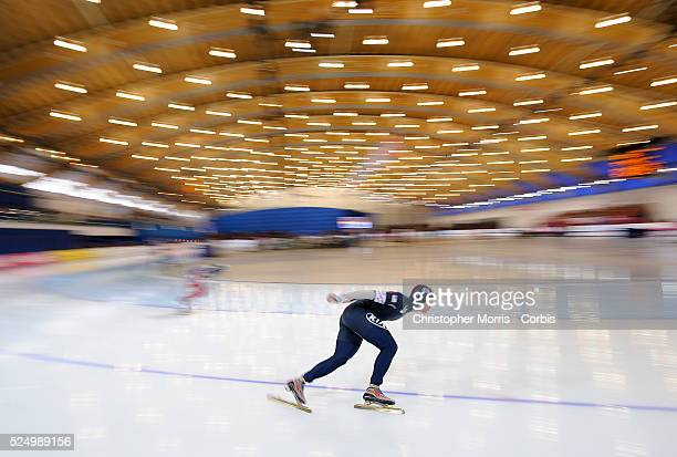 World Single Distances Speed Skating Championship: Trevor Marsicano, of the USA, skates to a gold medal during the men's 1000 meter race at the...