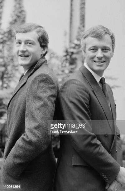 World snooker Champion Steve Davis with promoter Barry Hearn, 8th November 1984.