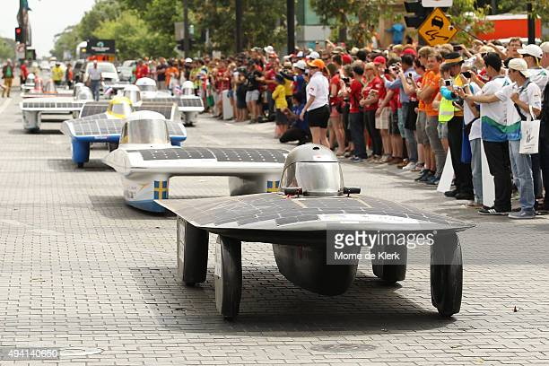 World Solar Challenge participants take part in a street parade after the 2015 Bridgestone World Solar Challenge at Wakefield Street on October 25,...