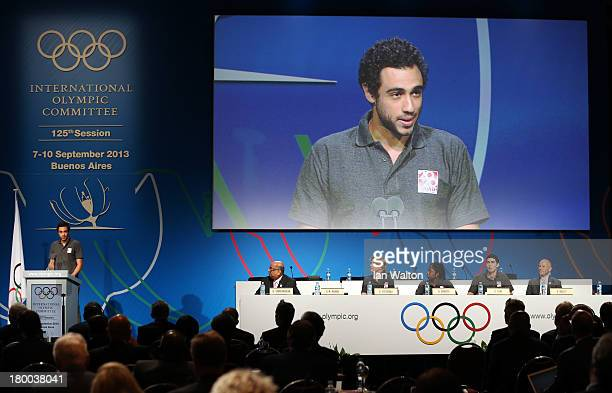 World Squash Champion Ramy Ashour speaks during a World Squash Federation presentation during the 125th IOC Session New Sport Announcement at the...