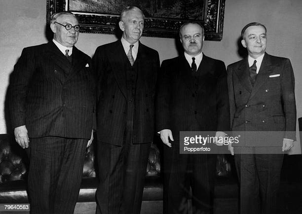World statesmen meet in Moscow to try to solve the future for Germany and a peace treaty for Austria March 1947 From left to right Ernest Bevin...