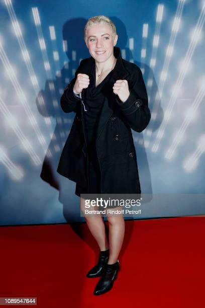 """World super featherweight champion since 2016, boxer Maiva Hamadouche attends the """"Creed II"""" Paris Premiere, followed by the Inauguration of the..."""