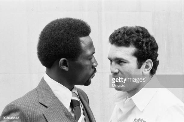 World Super Welterweight champion Maurice Hope with opponent Rocky Mattioli ahead of their rematch for WBC World Super Welterweight Title 19th June...