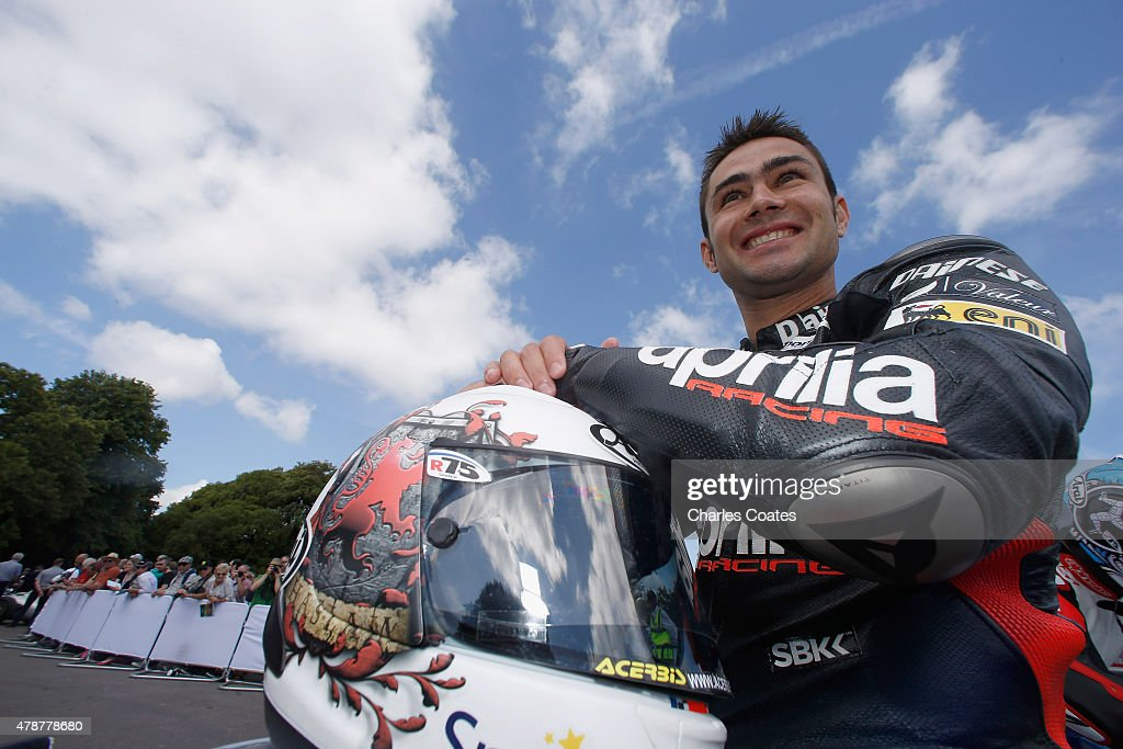 World Superbike rider Leon Haslam on his Aprilla at Goodwood on June 27, 2015 in Chichester, England.