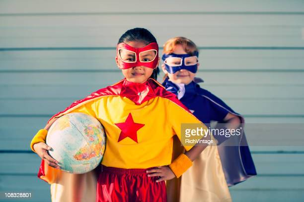 world superheroes - cape garment stock photos and pictures