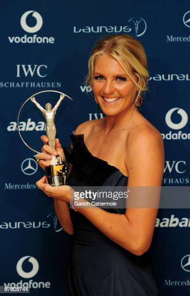 World Surfing Champion Stephanie Gilmore poses with her award for 'Laureus World Action Sportsperson of the Year' in the Awards room during the...
