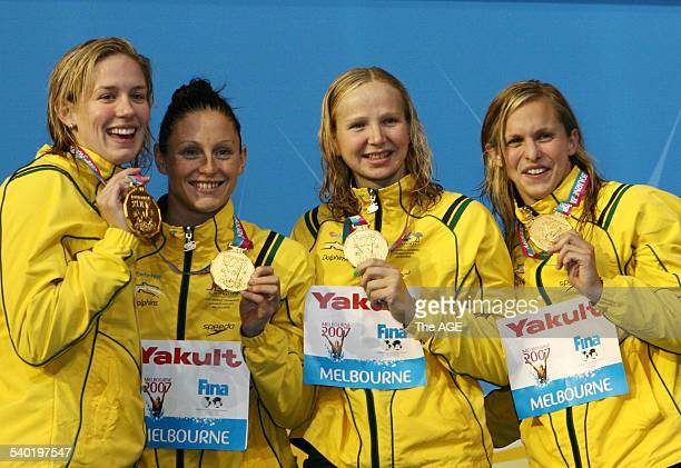 FINA World Swimming Championships 2007 in Melbourne 4x100m Freestyle relay Gold winners Lisbeth Lenton Melanie Schlanger Jodie Henry and Shane Reese...