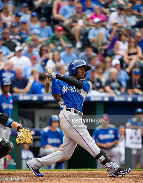 World Team Futures AllStar Jurickson Profar of the Texas Rangers bats against the US Team during the 2012 SiriusXM AllStar Futures Game at Kauffman...