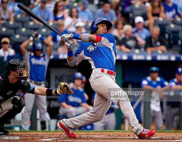 World Team Futures AllStar Oscar Taveras of the St Louis Cardinals bats against the US Team during the 2012 SiriusXM AllStar Futures Game at Kauffman...