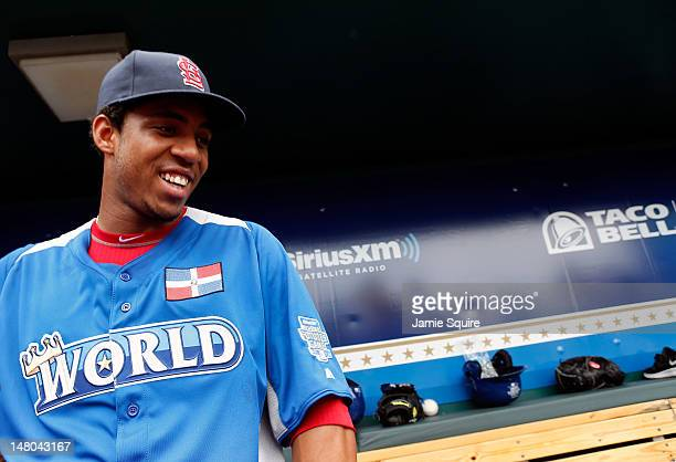 World Team member Oscar Tavares of the St Louis Cardinals is intrviewed during batting practice prior to the SiriusXM AllStar Futures Game at...